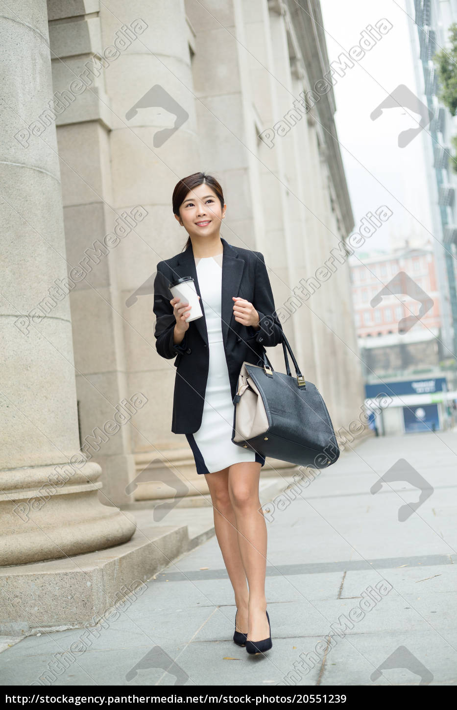young, business, woman, walking, outside - 20551239