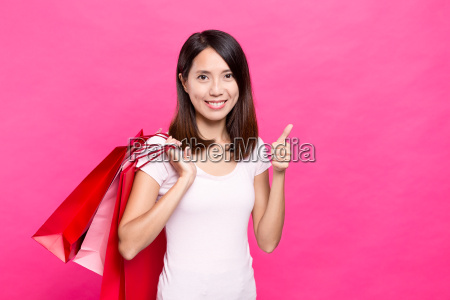 woman, holding, shopping, bag, and, finger - 20552943