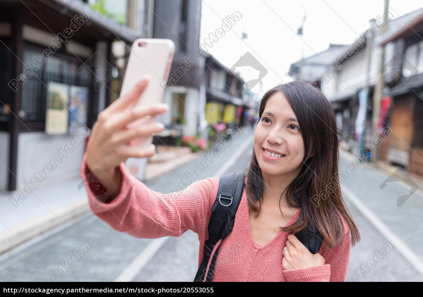 woman, taking, selfie, image, in, nagahama - 20553055