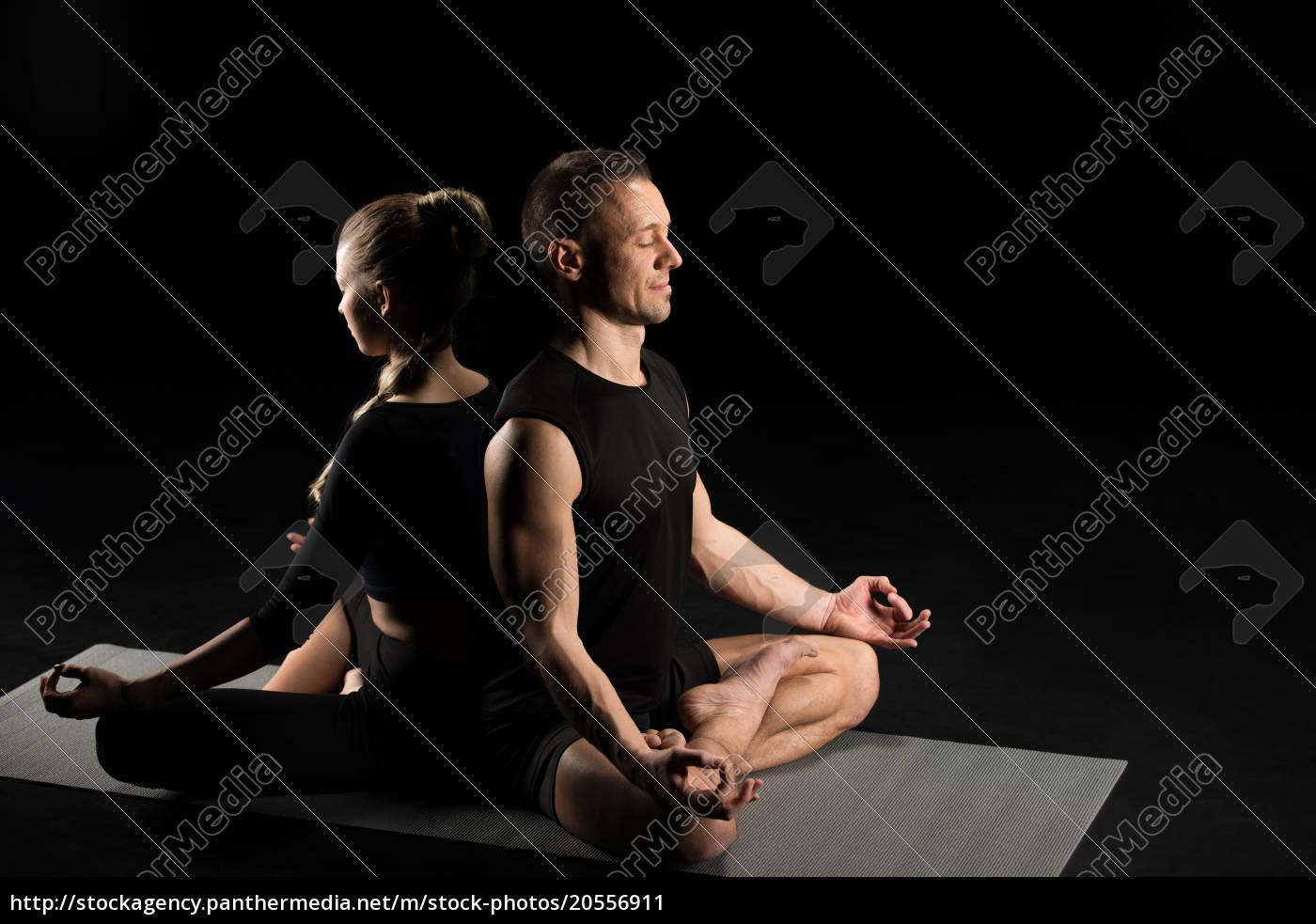 man, and, woman, meditating - 20556911