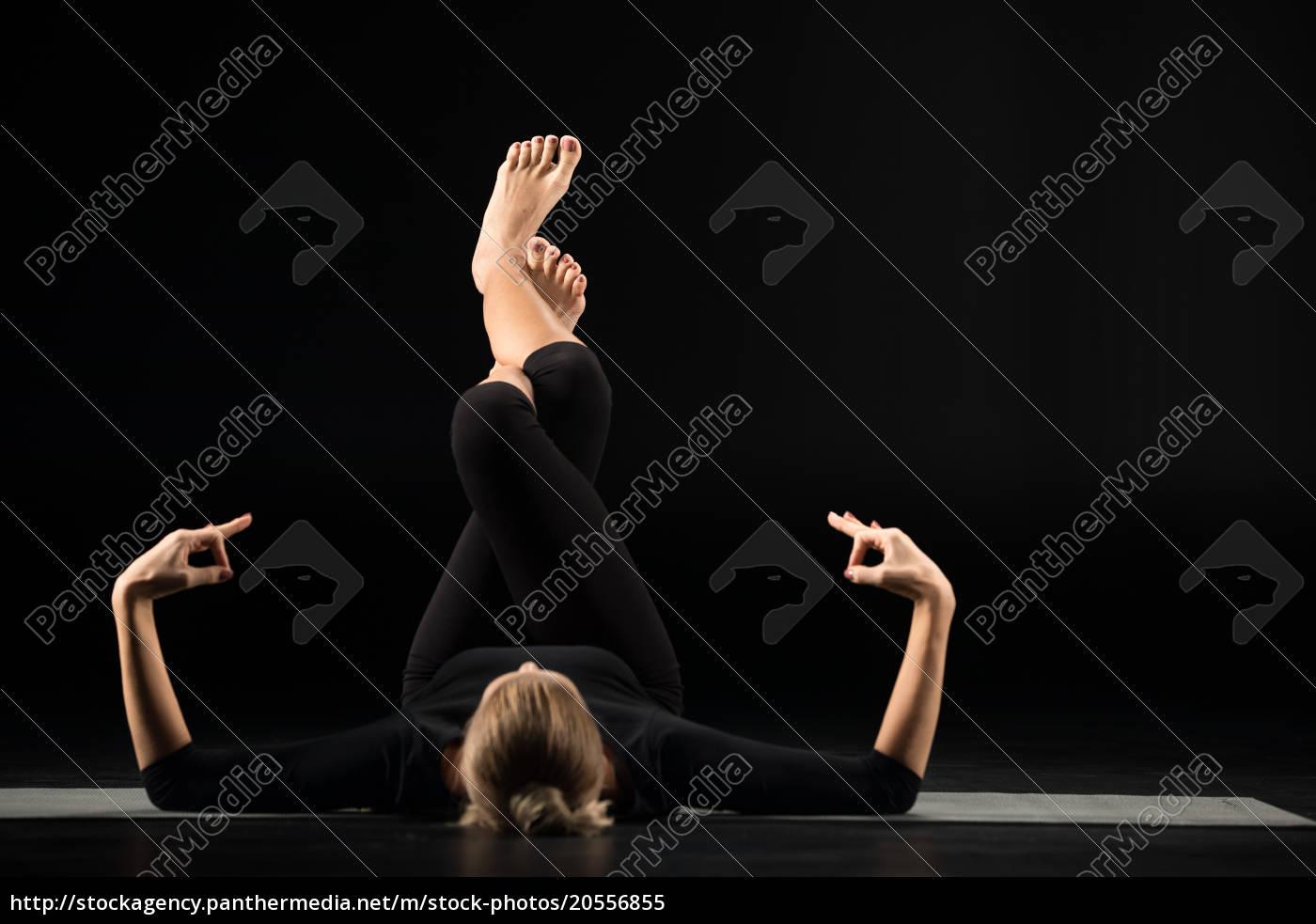 woman, lying, and, meditating - 20556855