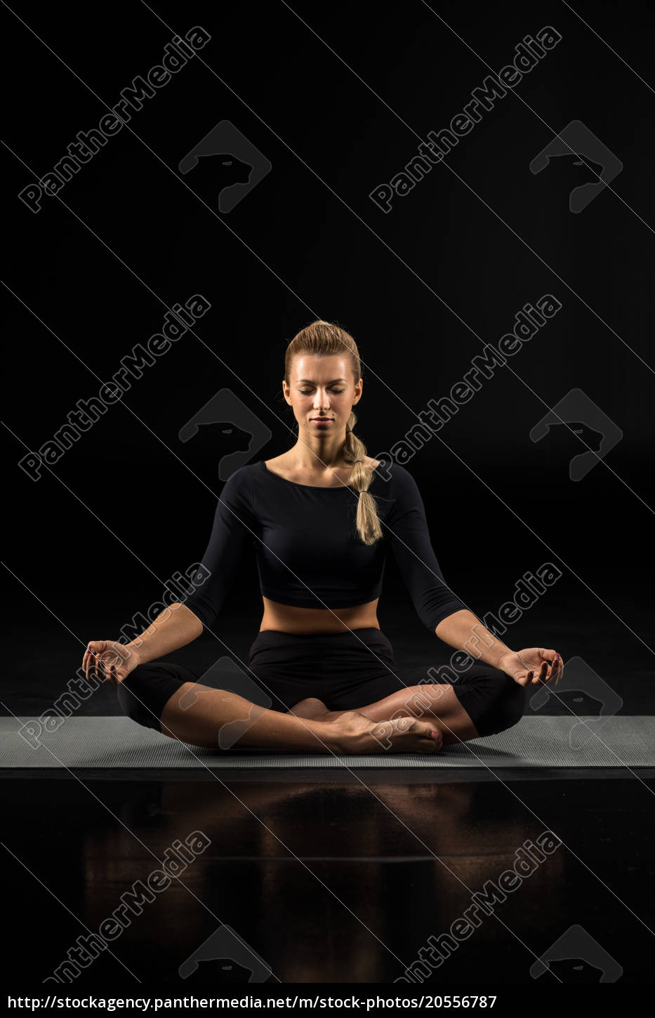 young, woman, sitting, and, meditating - 20556787
