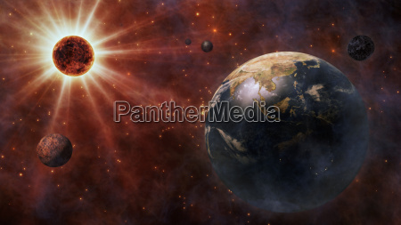 planet earth the sun the moon