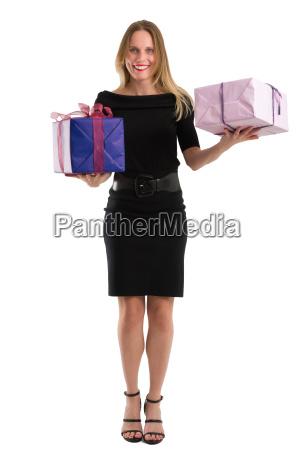 attractive woman in elegant black dress