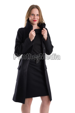 attractive blonde woman in black winter