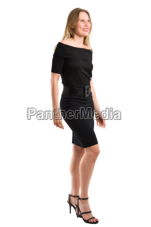 attractive blonde woman in elegant black