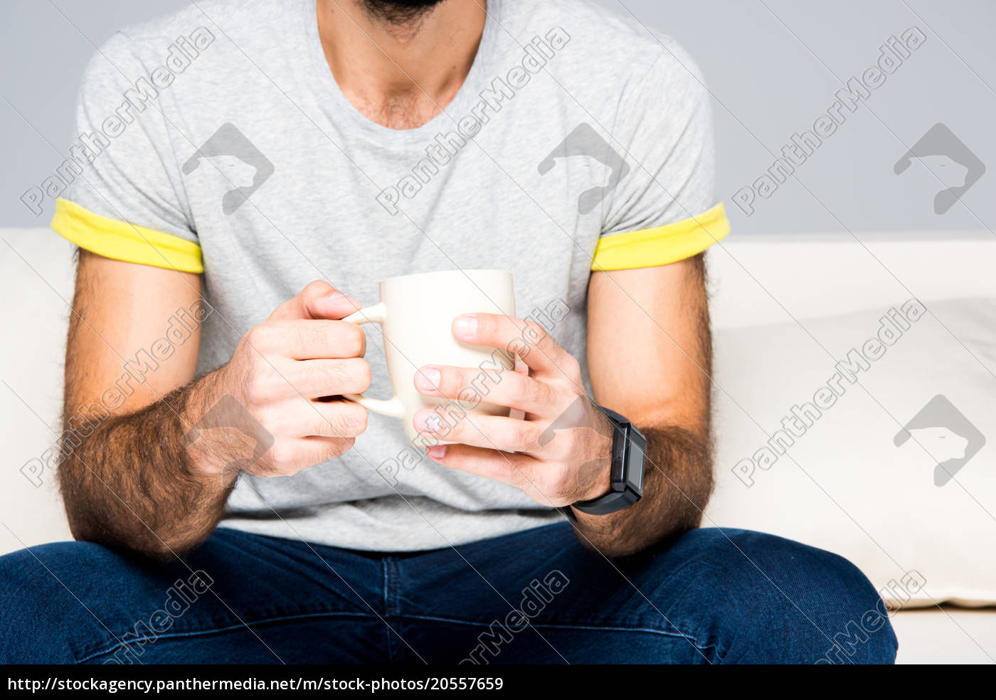man, holding, white, cup - 20557659