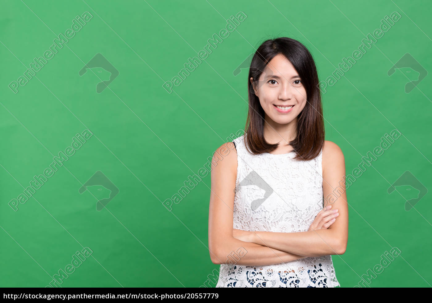 young, asian, woman, over, green, background - 20557779