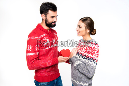 couple, standing, with, red, heart - 20558405