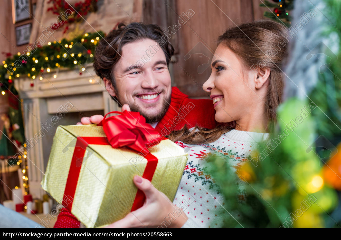happy, couple, with, christmas, present - 20558663