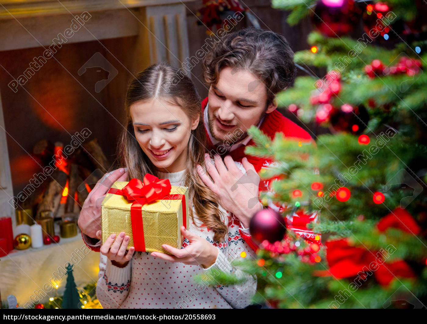 happy, couple, with, christmas, present - 20558693