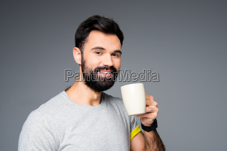 man, holding, white, cup - 20558193