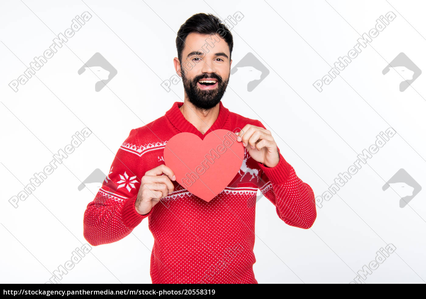 smiling, man, holding, red, heart - 20558319