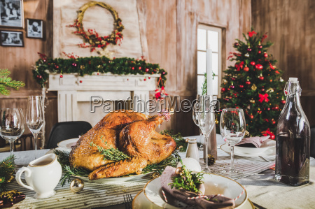 roasted turkey on holiday table