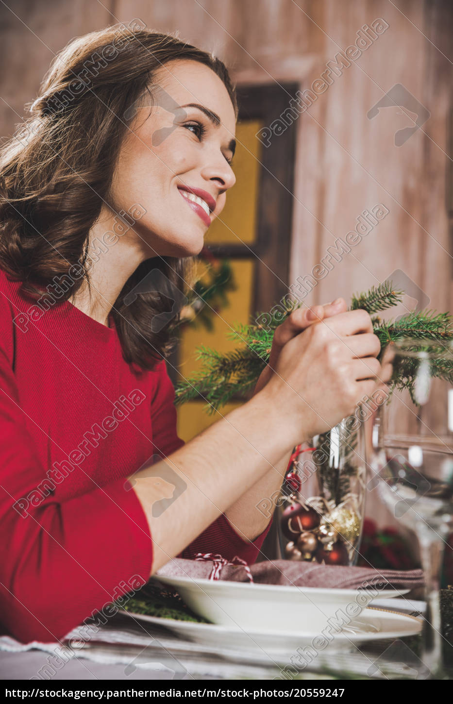 attractive, woman, at, holiday, table - 20559247