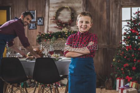 happy, boy, near, christmas, table - 20559349