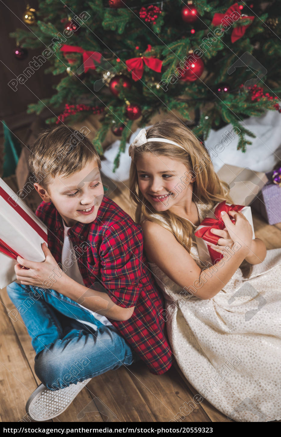 siblings, holding, gift, boxes - 20559323