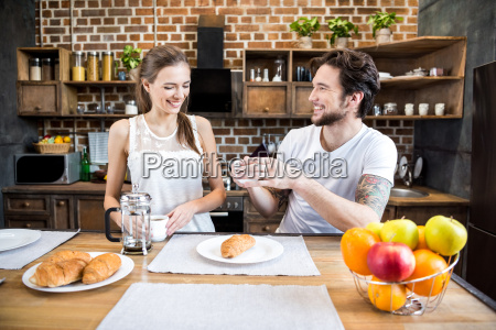smiling, couple, drinking, coffee - 20559065