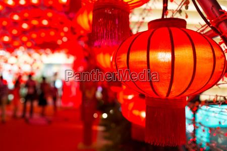 chinese red lantern at night