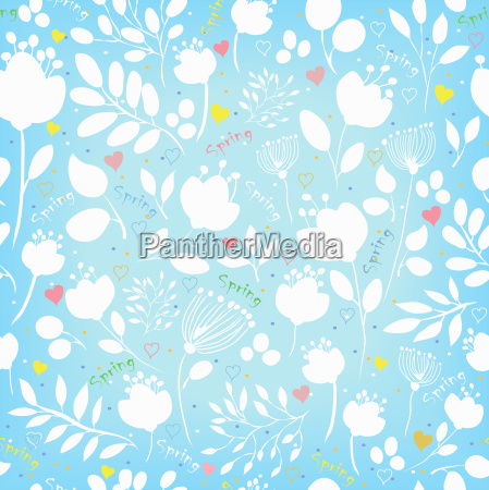spring seamless pattern white and blue