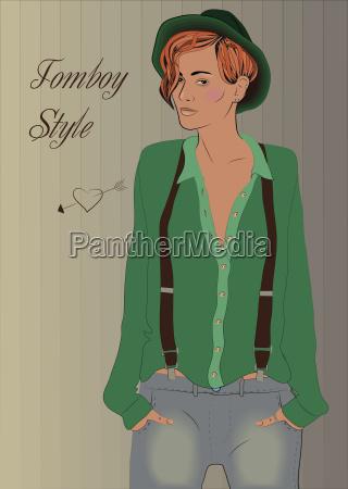 girl tomboy vintage fashion