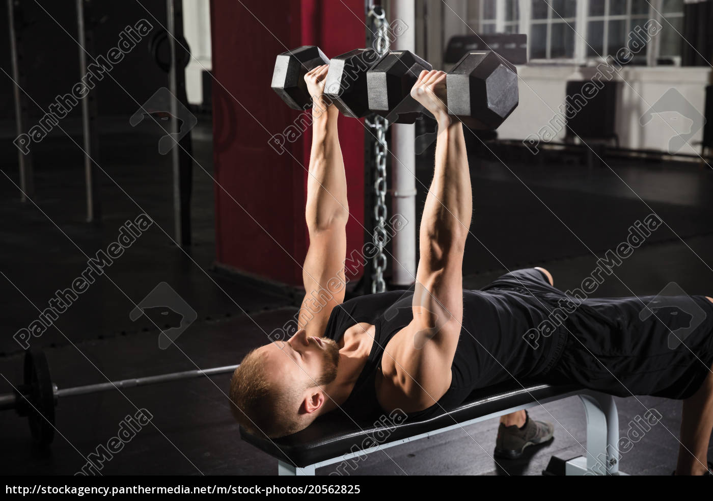 man, exercising, with, dumbbell - 20562825