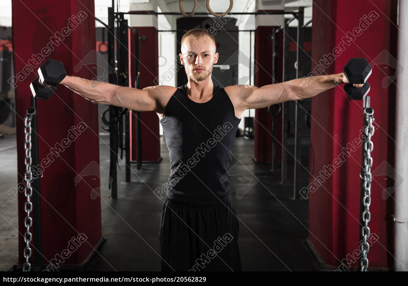 man, working, out, with, dumbbell - 20562829