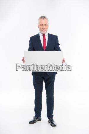 businessman, holding, blank, card - 20563079