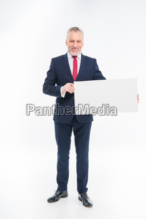 businessman, holding, blank, card - 20563081