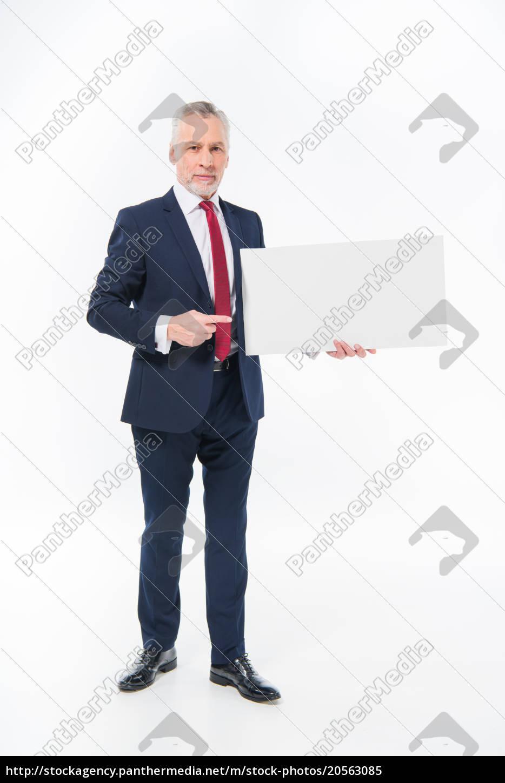 businessman, holding, blank, card - 20563085