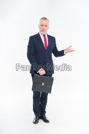 businessman, holding, briefcase - 20563039