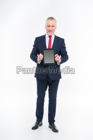 businessman, holding, digital, tablet - 20563071