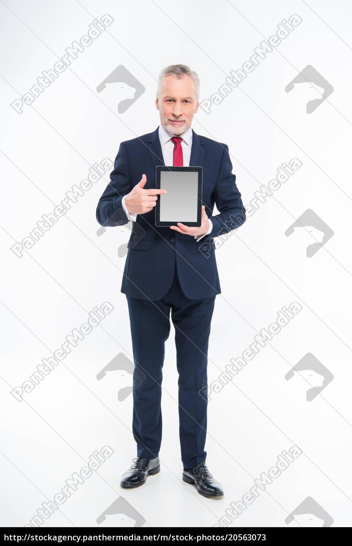 businessman, holding, digital, tablet - 20563073