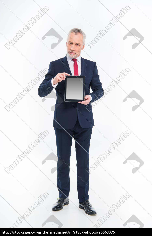 businessman, holding, digital, tablet - 20563075
