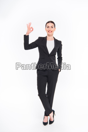 businesswoman, showing, ok, sign - 20563093