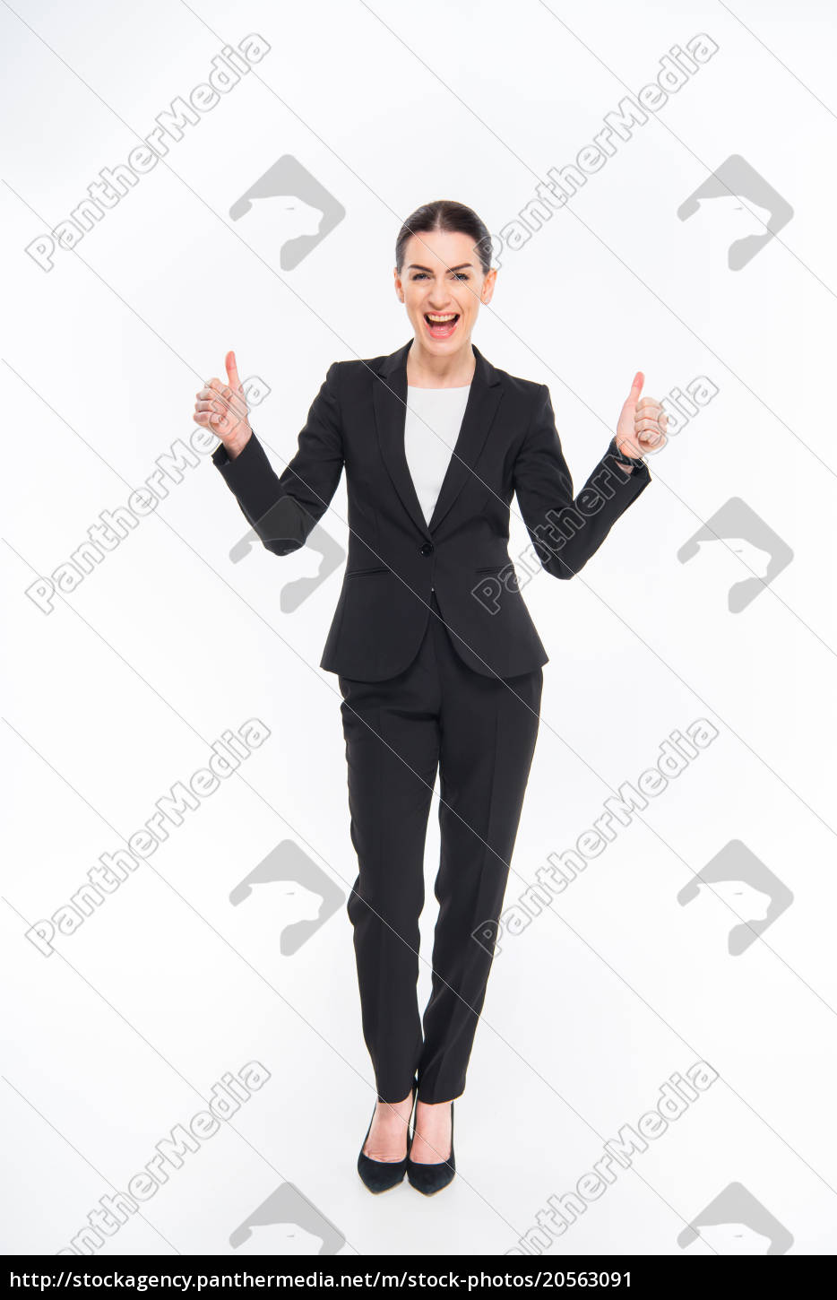 businesswoman, showing, thumbs, up - 20563091