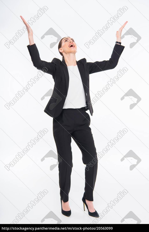 cheerful, businesswoman, triumphing - 20563099