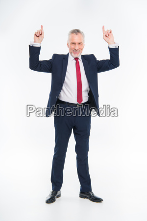 smiling, businessman, pointing, up - 20563047