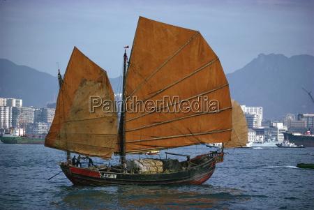 junk in hong kong harbour china