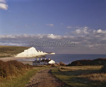 white chalk cliffs of the seven