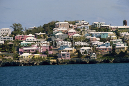 typical pastel coloured coastal houses bermuda