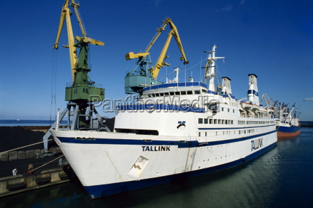the tallink ferry moored in harbour