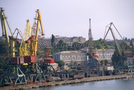 port with cranes odessa ukraine europe