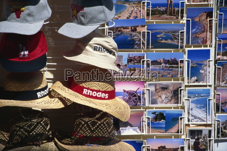 postcards and hats for sale rhodes