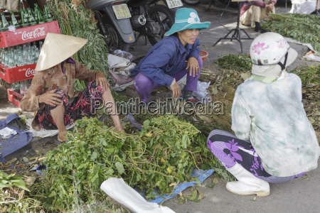 women sort through their produce at