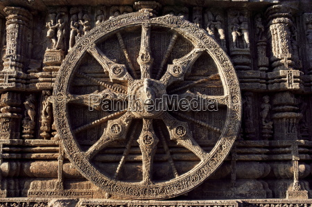close up of carved chariot wheel