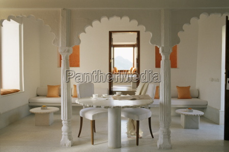 sitting and dining area in one