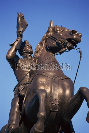 close up of statue of general