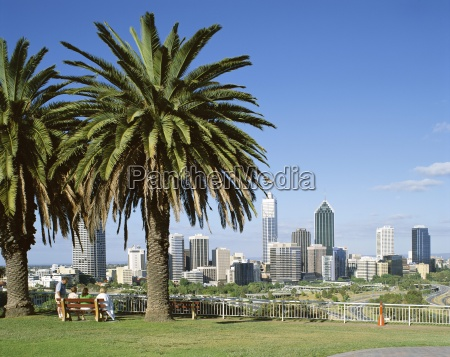 palm trees and city skyline perth