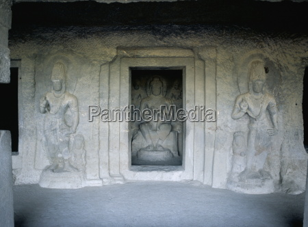 shrine guarded by bodhisattva figures dating